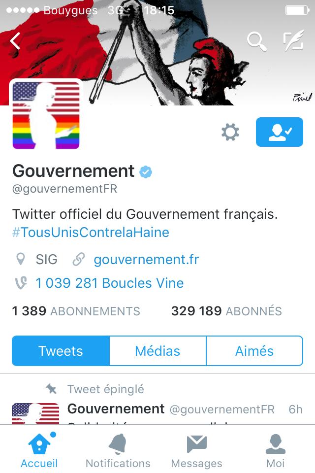 La Marianne du compte Twitter du Gouvernement est atlantiste, lesbienne et textoteuse compulsive