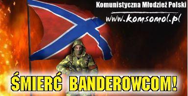 Soutien affiché aux séparatistes ukrainiens sur le site de la Jeunesse communiste de Pologne sur fond de drapeau de la Nouvelle Russie