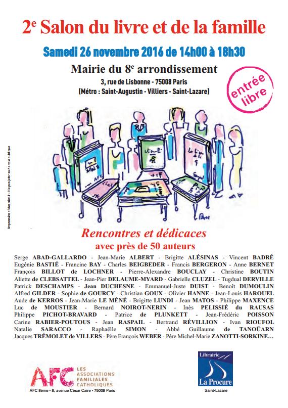 2e Salon du livre et de la famille samedi 26 novembre à la mairie du 8e arrondissement