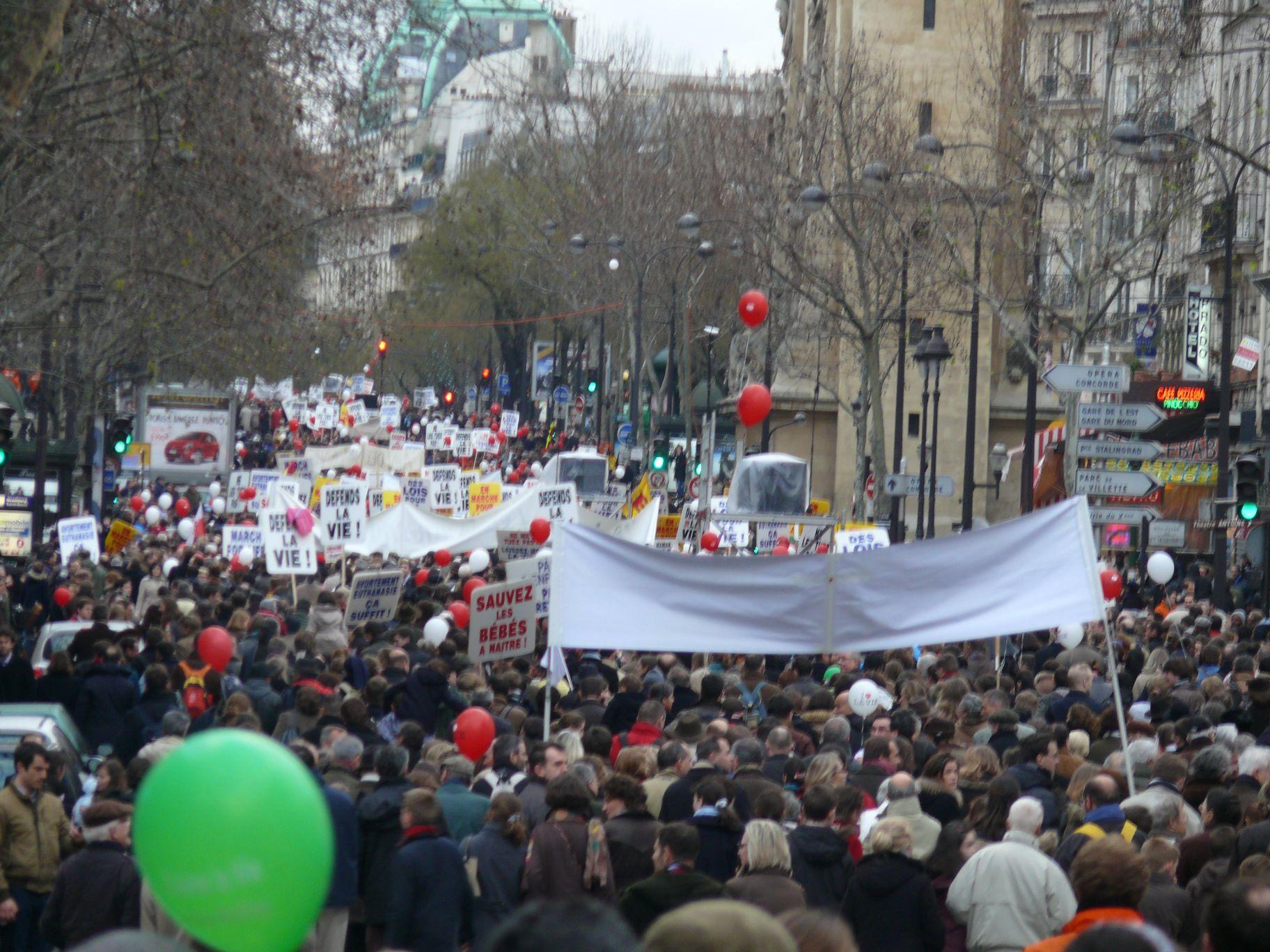 Entre 10 500 (ministère de l'Intérieur) et 50 000 (organisateurs) manifestants à la Marche pour la Vie de dimanche