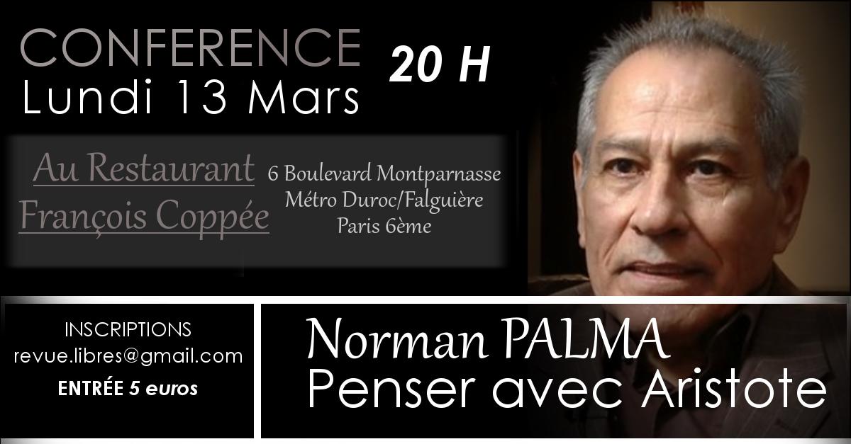 "Conférence de Norman Palma : ""Penser avec Aristote"""