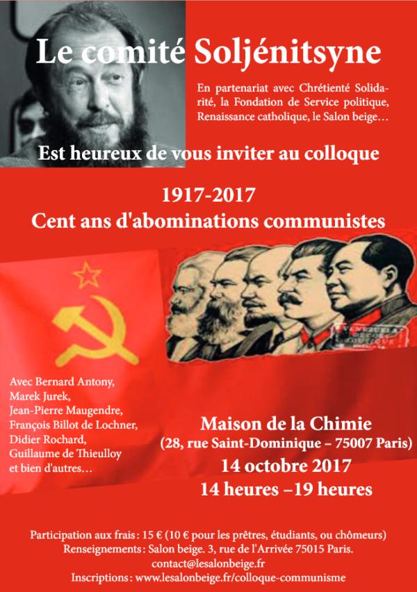 """Réservez votre samedi 14 octobre 2017 : """"Colloque 1917-2017, Cent ans d'abominations communistes"""""""