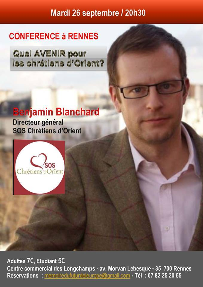 Conférence à Rennes – Quel avenir pour les chrétiens d'Orient ? Par Benjamin Blanchard