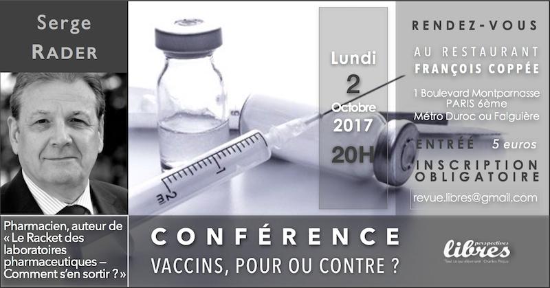 """Conférence de Serge Rader : """"Vaccins, pour contre?"""""""