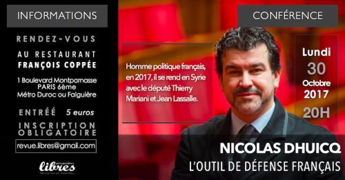 """Vidéo de la conférence de Nicolas Dhuicq : """"l'outil de défense français"""""""