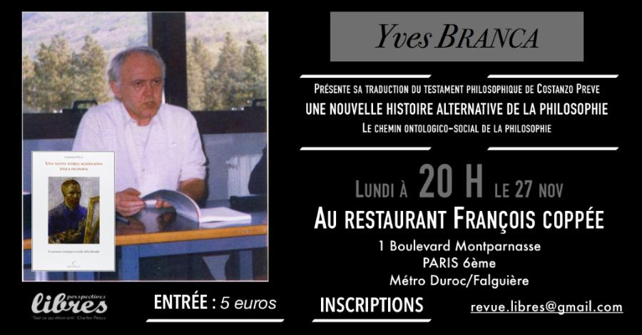 """Conférence d'Yves Branca : """"Présentation de l'ouvrage Une nouvelle histoire alternative de la philosophie"""""""