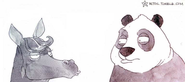 Mon cheval… contre un Panda