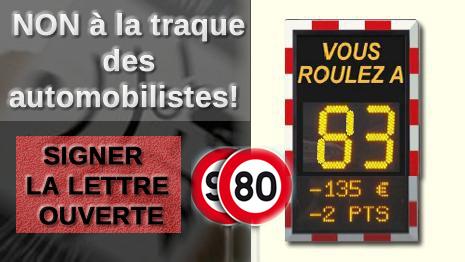 Signez la lettre ouverte : Non à la traque des automobilistes!