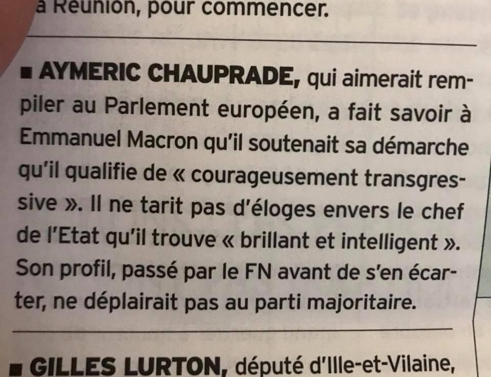Aymeric Chauprade va-t-il rejoindre Emmanuel Macron ?