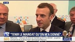 """Réformes : """"J'essaie de tenir le mandat qu'on m'a donné"""", déclare Emmanuel Macron"""