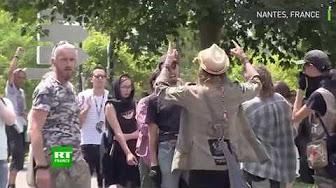 Des militants de droite manifestent pour le policier accusé de la mort du jeune homme à Nantes, tensions avec les antifas