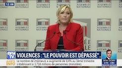 """Violences scolaires : Marine Le Pen estime que """"le pouvoir est dépassé par les événements"""""""