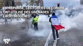 Des images des affrontements entre forces de l'ordre et gilets jaunes samedi 24 novembre sur les Champs-Élysées (VIDÉO)