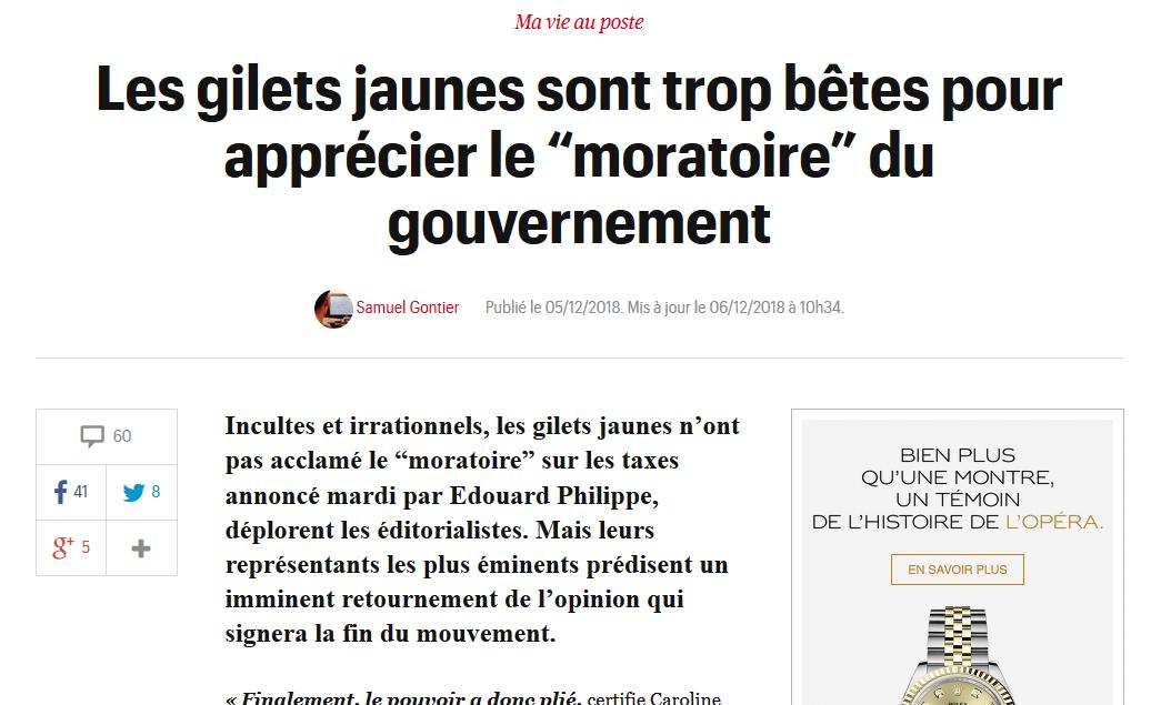 """""""Télérama"""" insulte les Gilets Jaunes : """"Les gilets jaunes sont trop bêtes pour apprécier le """"moratoire"""" du gouvernement"""""""