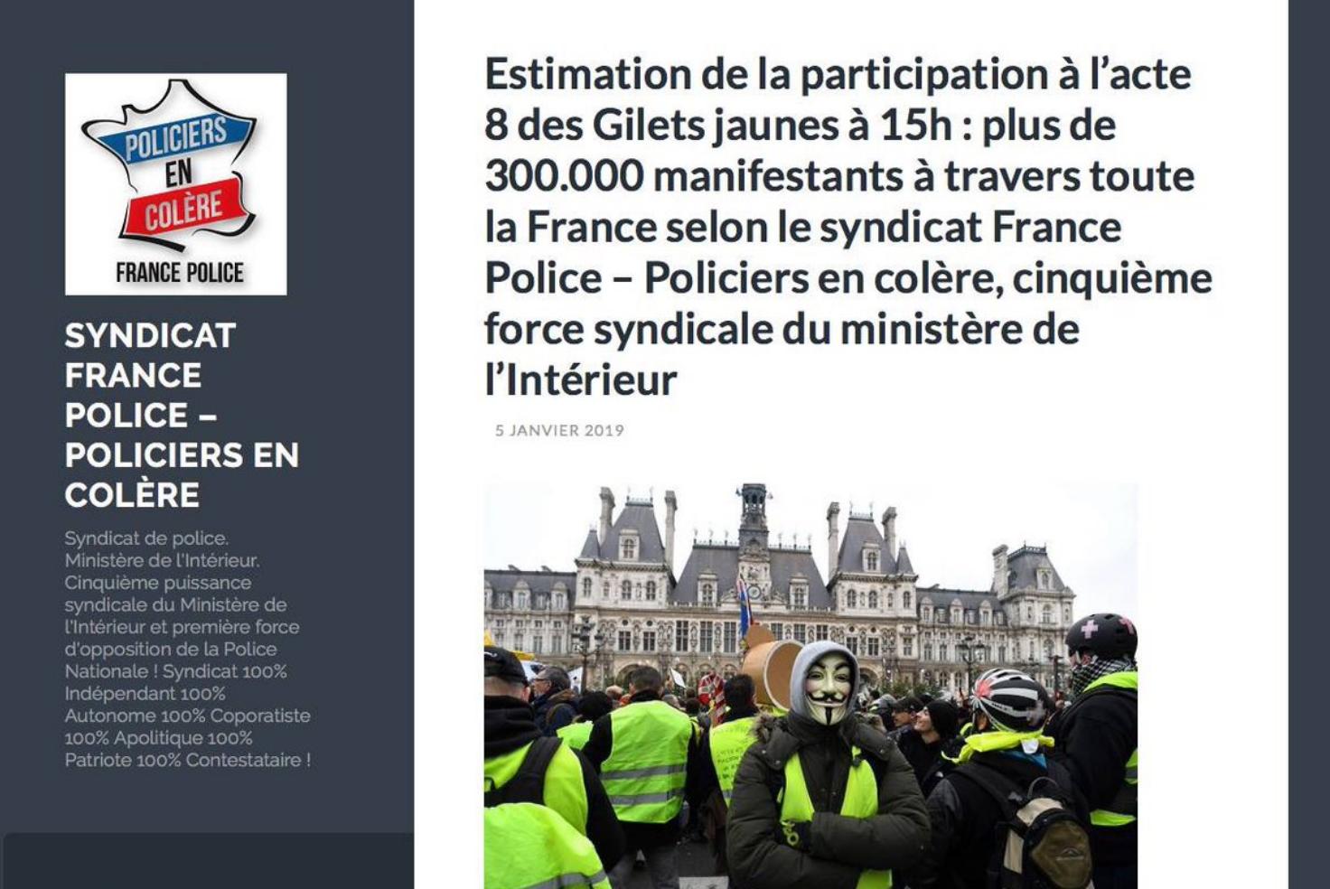 Acte 8 / les vraies estimations policières de la mobilisation populaire : 300 000 Gilets jaunes