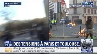 Gilets jaunes : des poubelles incendiées à Toulouse (VIDÉO)
