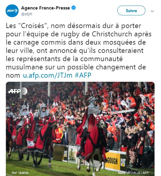 Nouvelle-Zélande : L'équipe de rugby de Christchurch change de nom pour ne pas choquer les islamistes locaux…