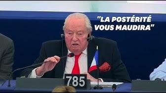 """Les derniers mots de Jean-Marie Le Pen au Parlement européen : """"La postérité vous maudira"""" (VIDÉO)"""