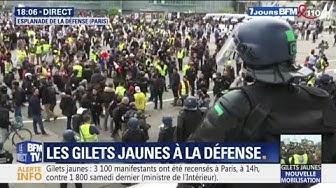 De légères tensions à La Défense entre forces de l'ordre et Gilets Jaunes en fin de manifestation