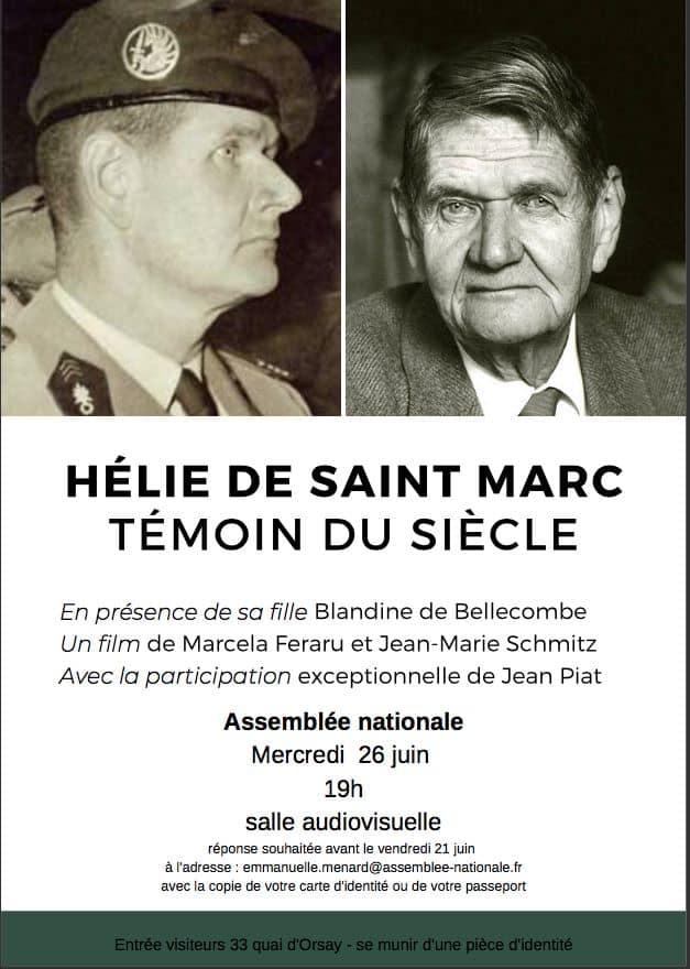 """""""Hélie de Saint-Marc, témoin  du siècle"""" (PROJECTION)"""