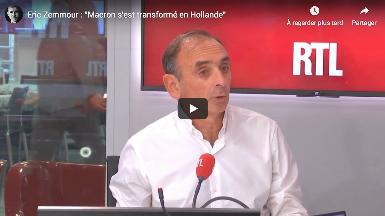 """Éric Zemmour : """"Macron s'est transformé en Hollande"""" (VIDÉO)"""