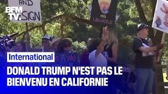 Des militants d'extrême gauche invectivent Donald Trump, en visite en Californie pendant deux jours (VIDÉO)