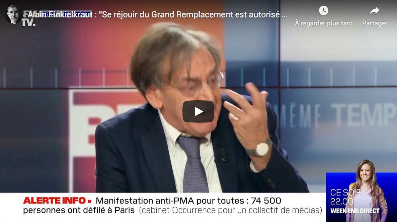 """Alain Finkielkraut : """"Se réjouir du Grand Remplacement est autorisé aujourd'hui en France"""" (VIDÉO)"""