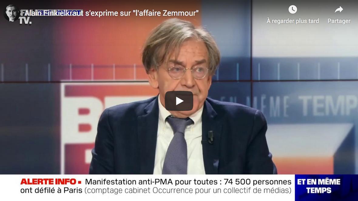 """Alain Finkielkraut s'exprime sur """"l'affaire Zemmour"""" (VIDÉO)"""