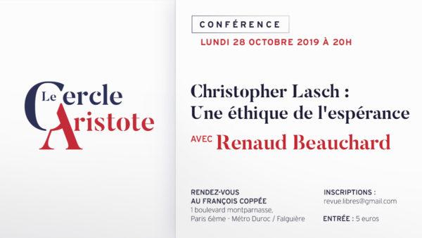 Lundi 28 octobre : Christopher Lasch, une éthique de l'espérance (Le Cercle Aristote)