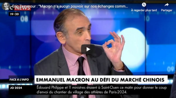 """Éric Zemmour : """"Macron n'a aucun pouvoir sur nos échanges commerciaux"""" (VIDÉO)"""