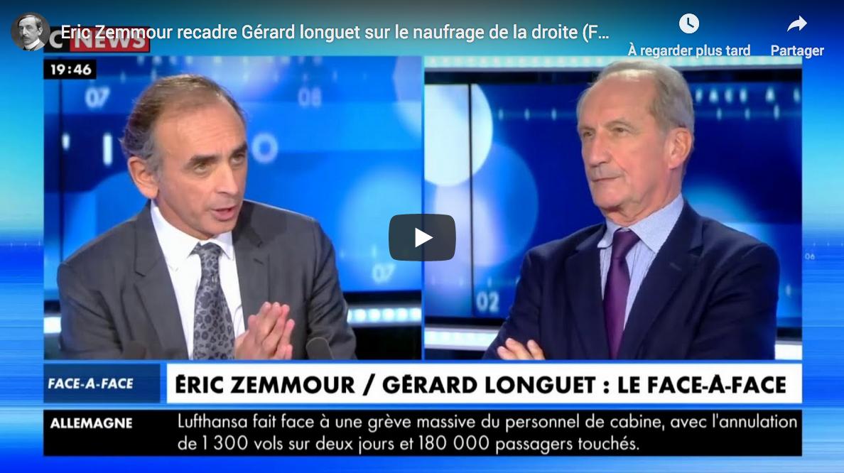 Éric Zemmour recadre Gérard longuet sur le naufrage de la droite (DÉBAT)