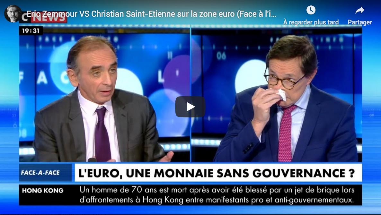 Zone euro : Éric Zemmour VS Christian Saint-Étienne (DÉBAT)