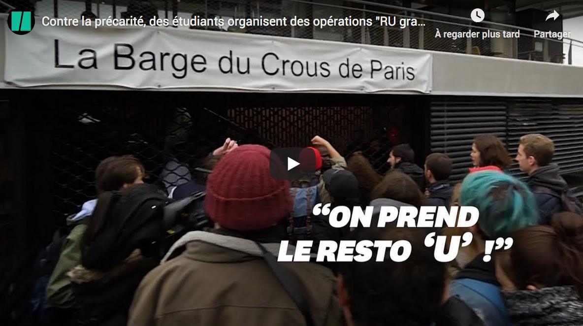 """En lutte contre… la précarité, des étudiants d'extrême gauche organisent des opérations """"RU gratuit"""" (VIDÉO)"""