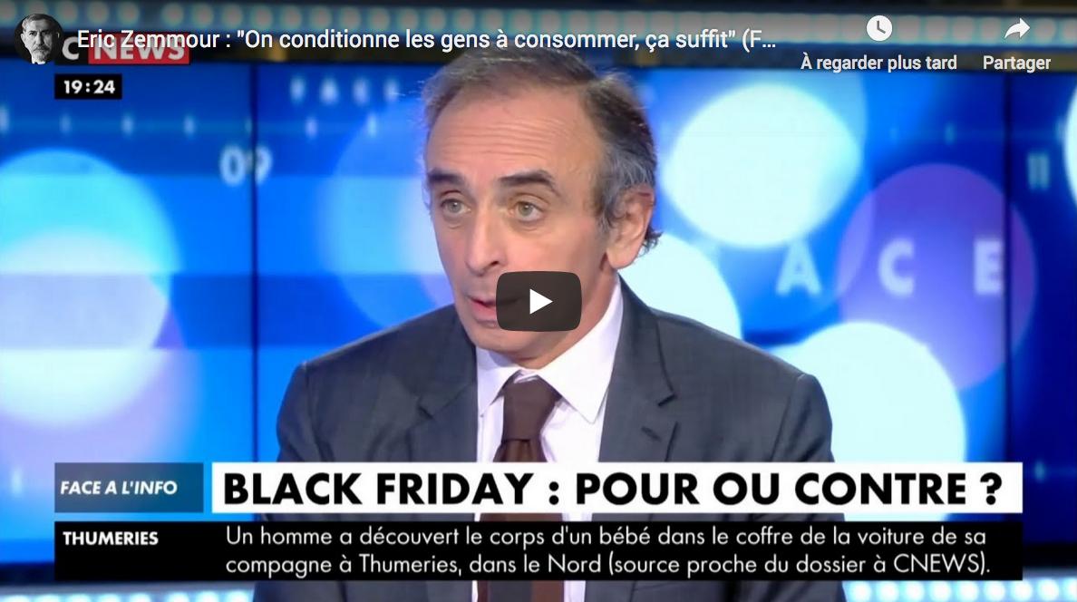 """Éric Zemmour : """"On conditionne les gens à consommer, ça suffit"""" (VIDÉO)"""