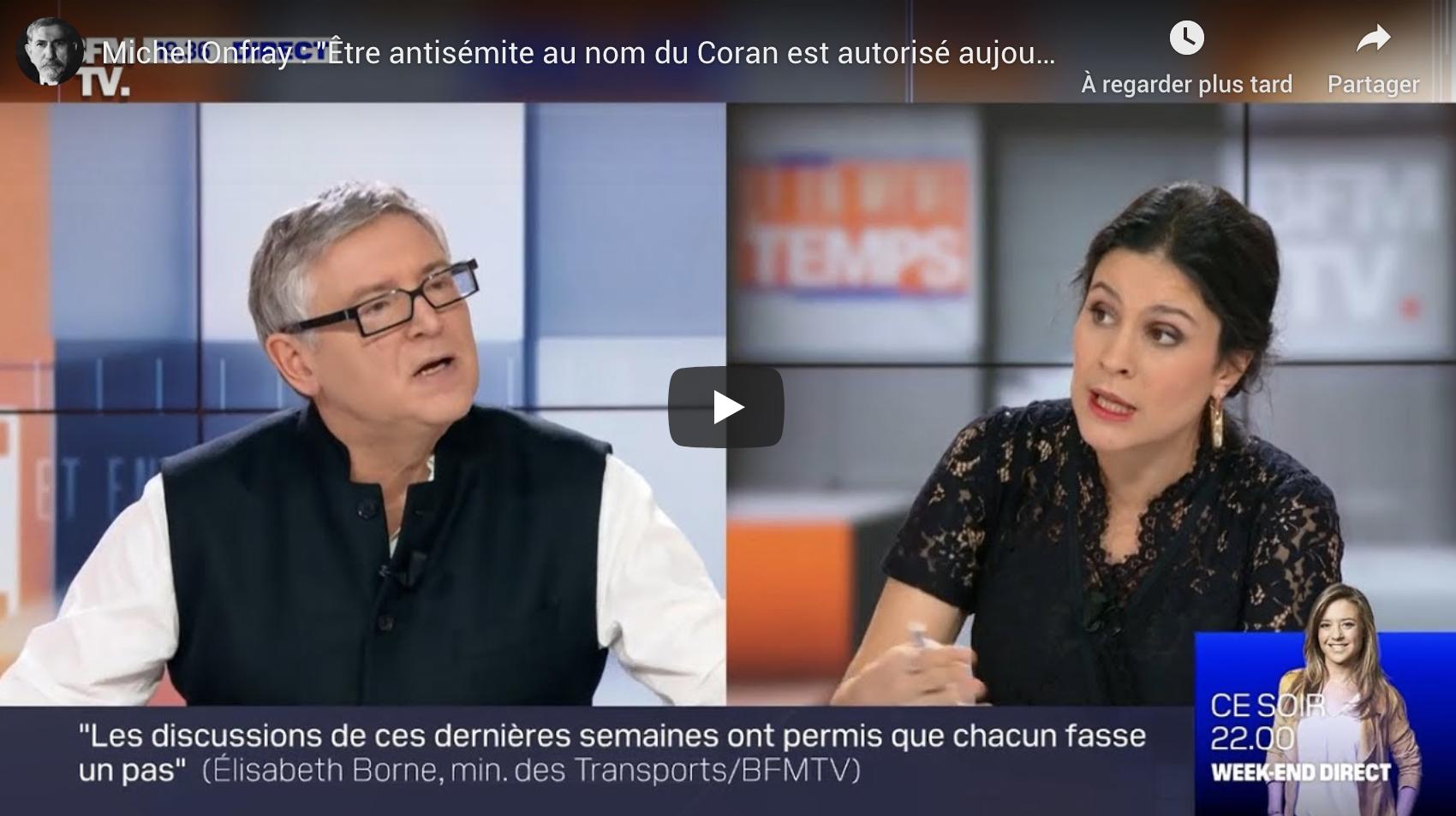 """Michel Onfray : """"Être antisémite au nom du Coran est autorisé aujourd'hui"""" (VIDÉO)"""