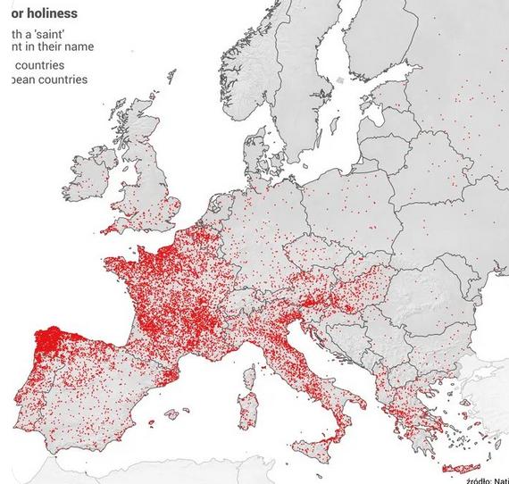 Cartographie de toutes les villes nommées d'après un saint en Europe