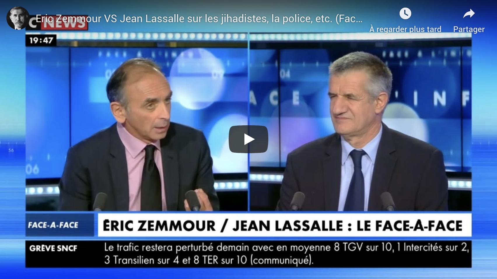 Djihadisme, police, etc. : Éric Zemmour VS Jean Lassalle (DÉBAT)