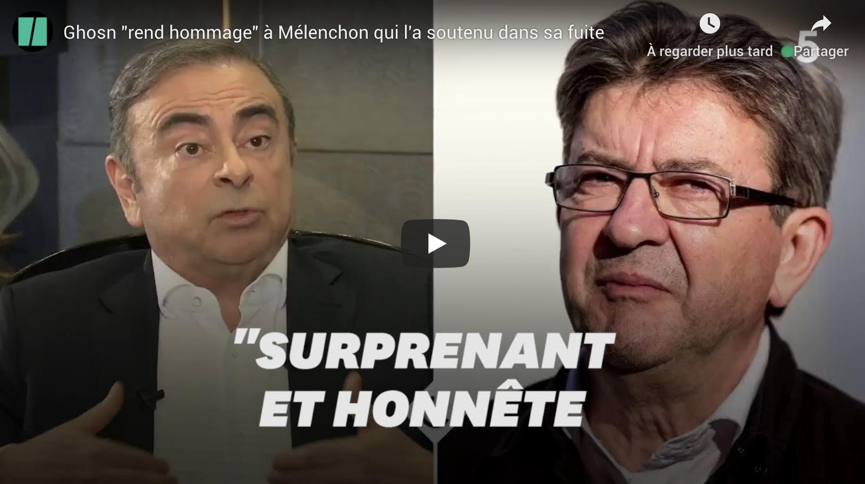 """Carlos Ghosn """"rend hommage"""" à Jean-Luc Mélenchon qui l'a soutenu dans sa fuite (VIDÉO)"""