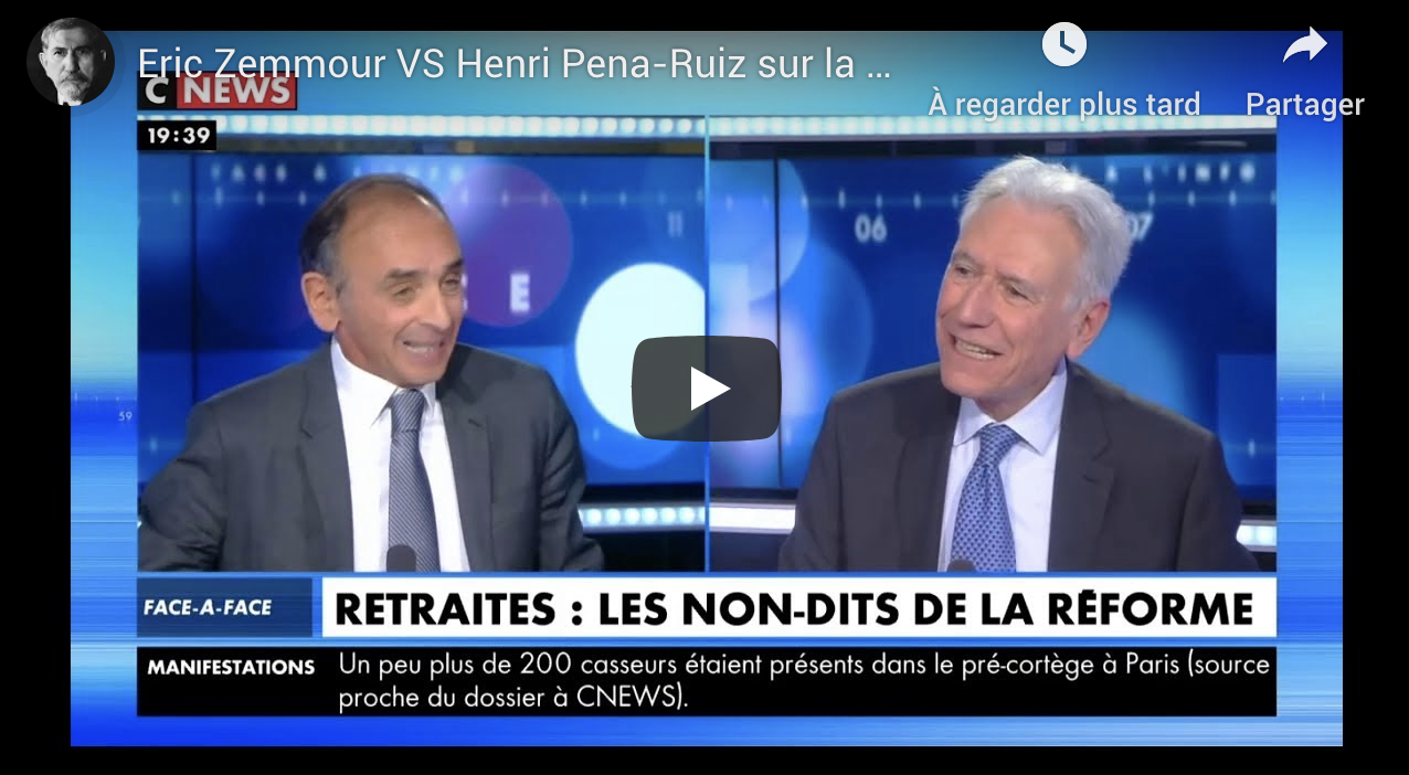 Réforme des retraites : Éric Zemmour VS Henri Pena-Ruiz (VIDÉO)