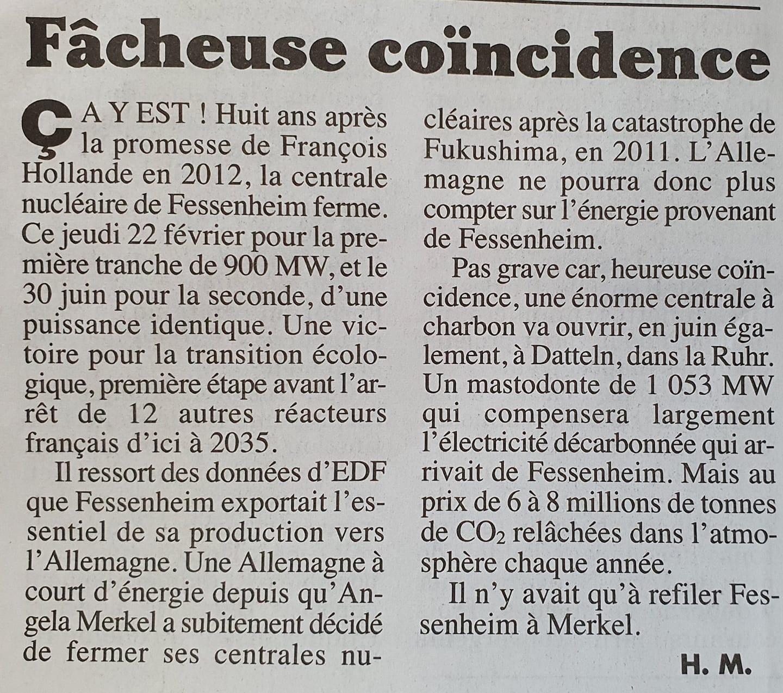 Fermez Fessenheim, vous aurez une gigantesque centrale à charbon !