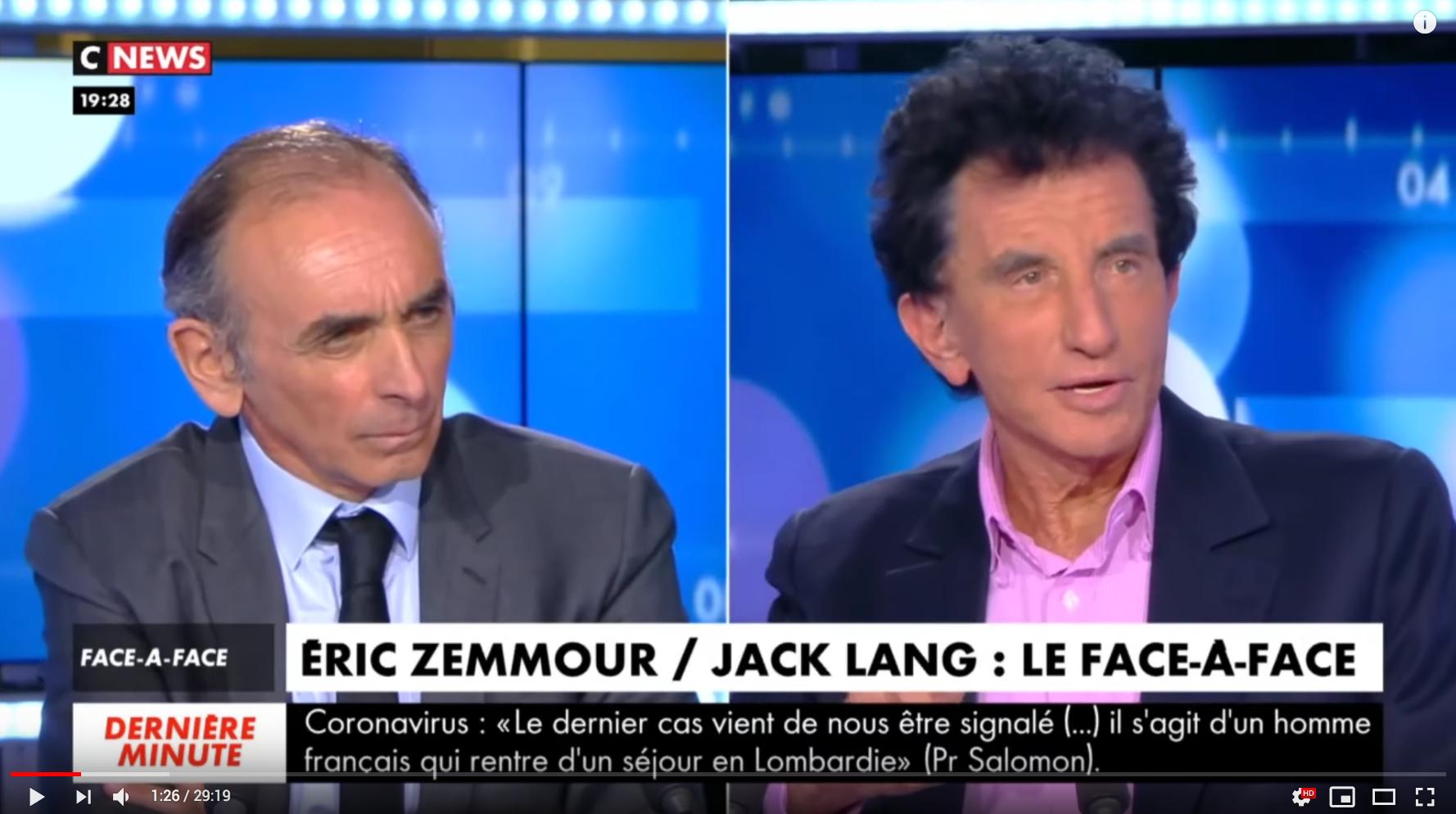 """""""La langue arabe, trésor de France"""" envahie : Éric Zemmour VS Jack Lang (DÉBAT)"""