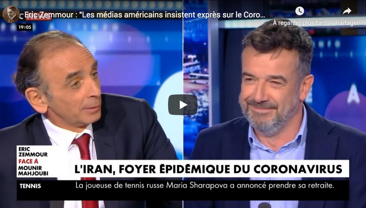"""Éric Zemmour : """"Les médias américains insistent exprès sur le coronavirus"""" (VIDÉO)"""