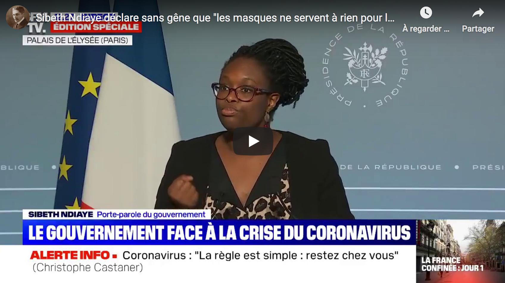 """Sibeth Ndiaye déclare sans gêne que """"les masques ne servent à rien pour les non-contaminés…"""" (VIDÉO)"""