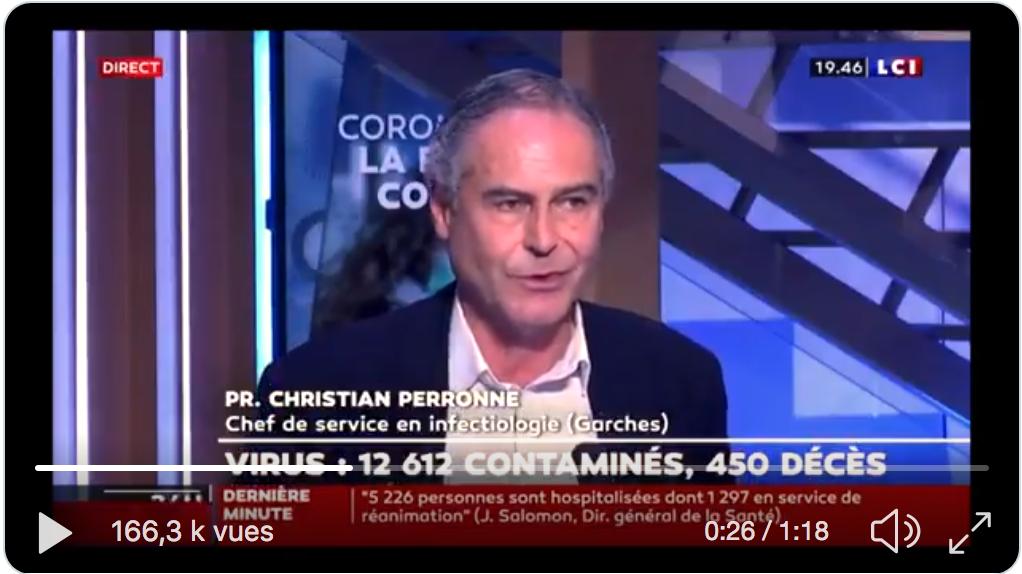 Ce n'est pas une blague : nos stocks de Chloroquine, possible remède contre le Covid-19, auraient été volés (!) selon le Pr Christian Perronne, chef de service en infectiologie à l'hôpital de Garches (VIDÉO)