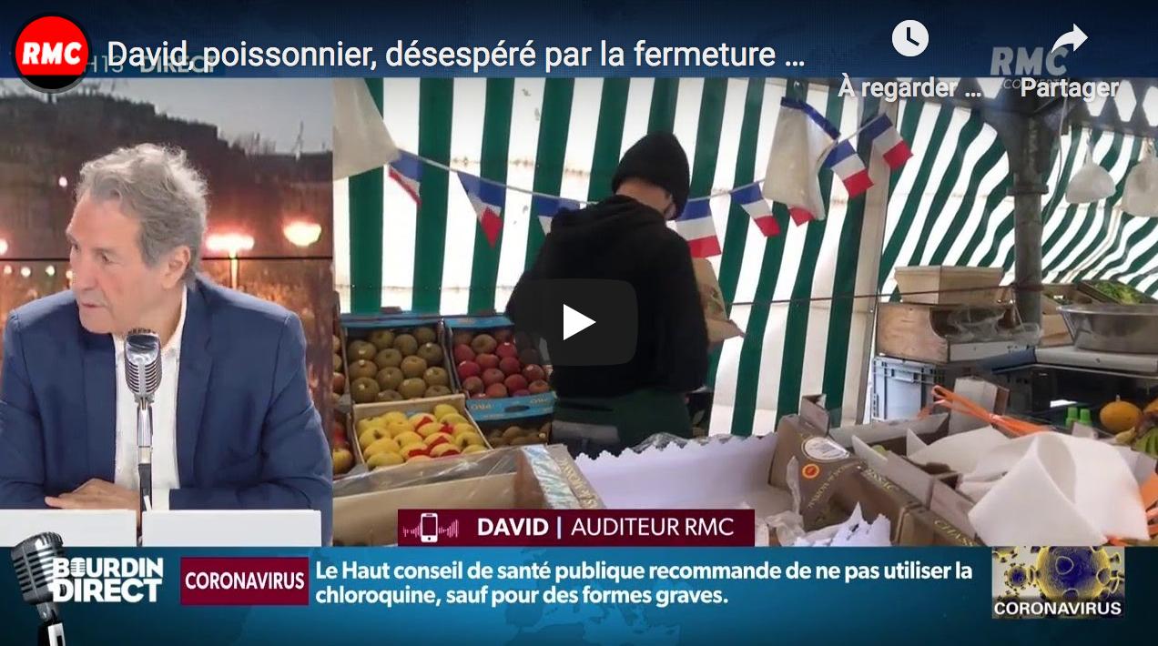 David, poissonnier, désespéré par la fermeture des marchés voulue par le gouvernement