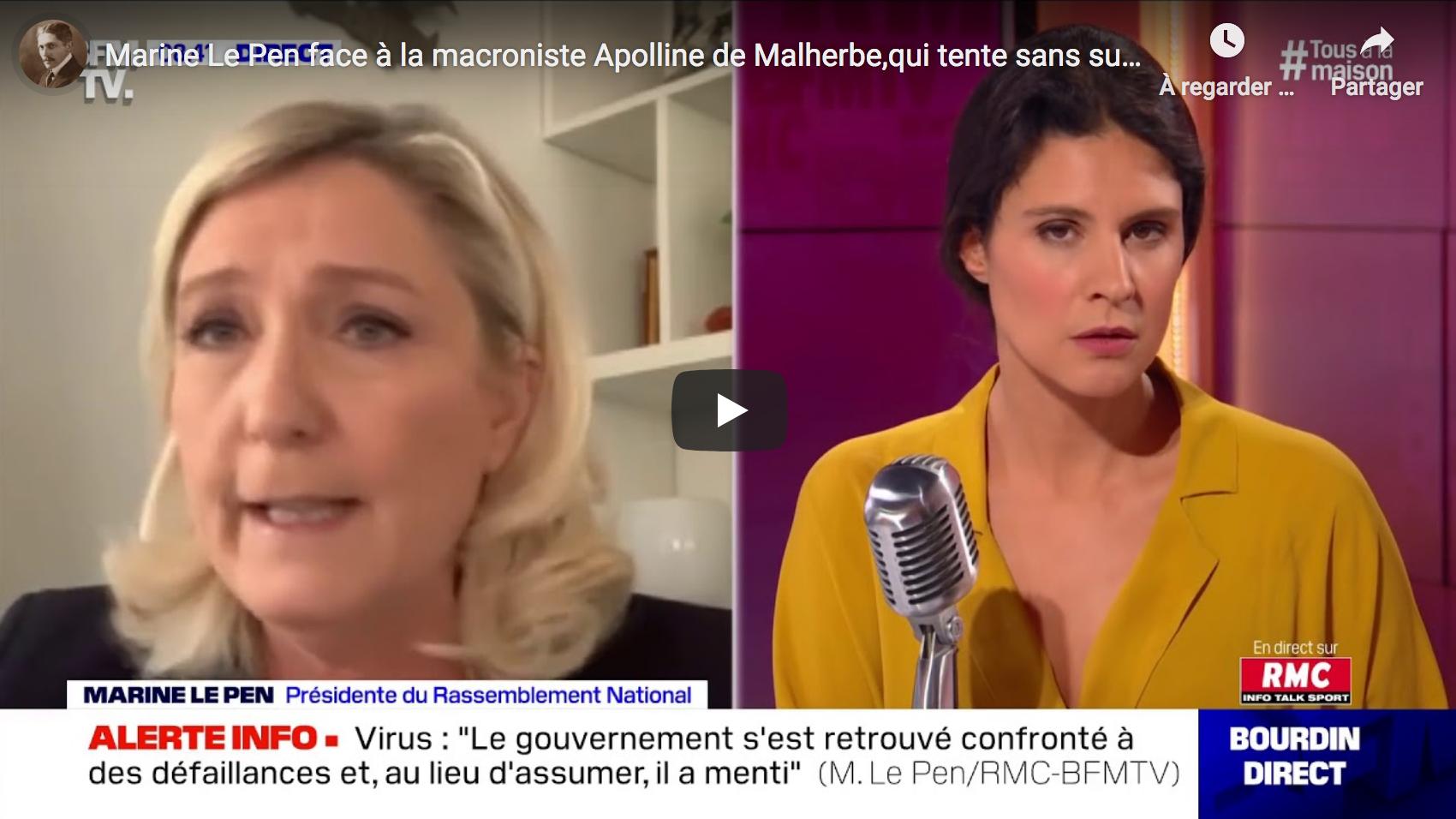 Marine Le Pen VS la macroniste Apolline de Malherbe, qui tente sans succès de défendre le pouvoir… (VIDÉO)