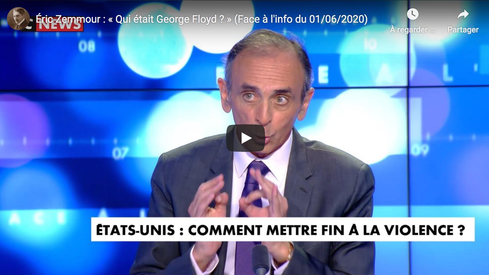 Éric Zemmour : « Qui était George Floyd ? » (DÉBAT)