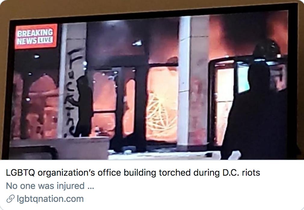 Washington, DC : le siège d'un lobby homo de gauche incendié par des antifas (VIDÉO)