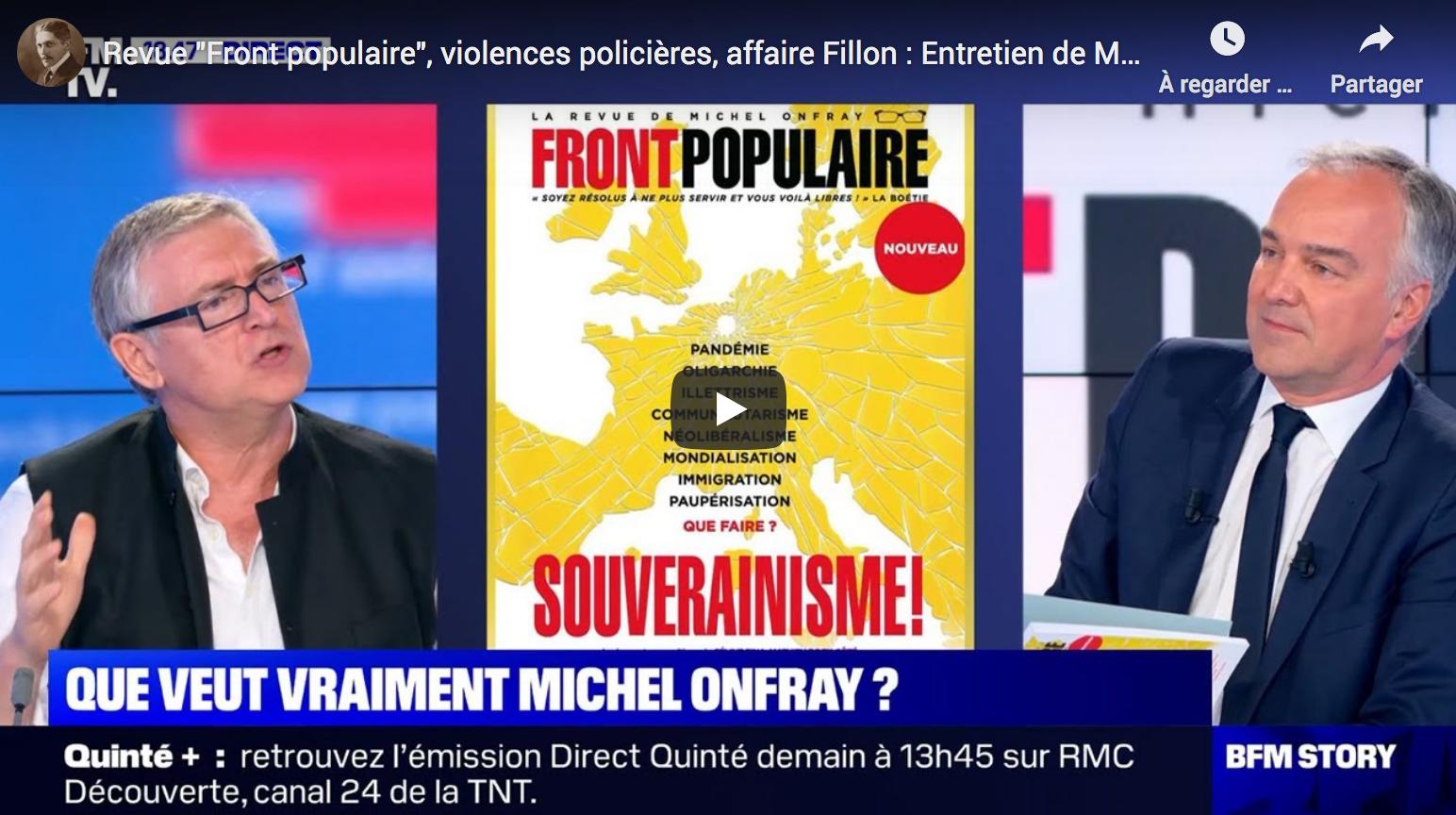 """Revue """"Front populaire"""", violences policières, affaire Fillon : entretien avec Michel Onfray (VIDÉO)"""