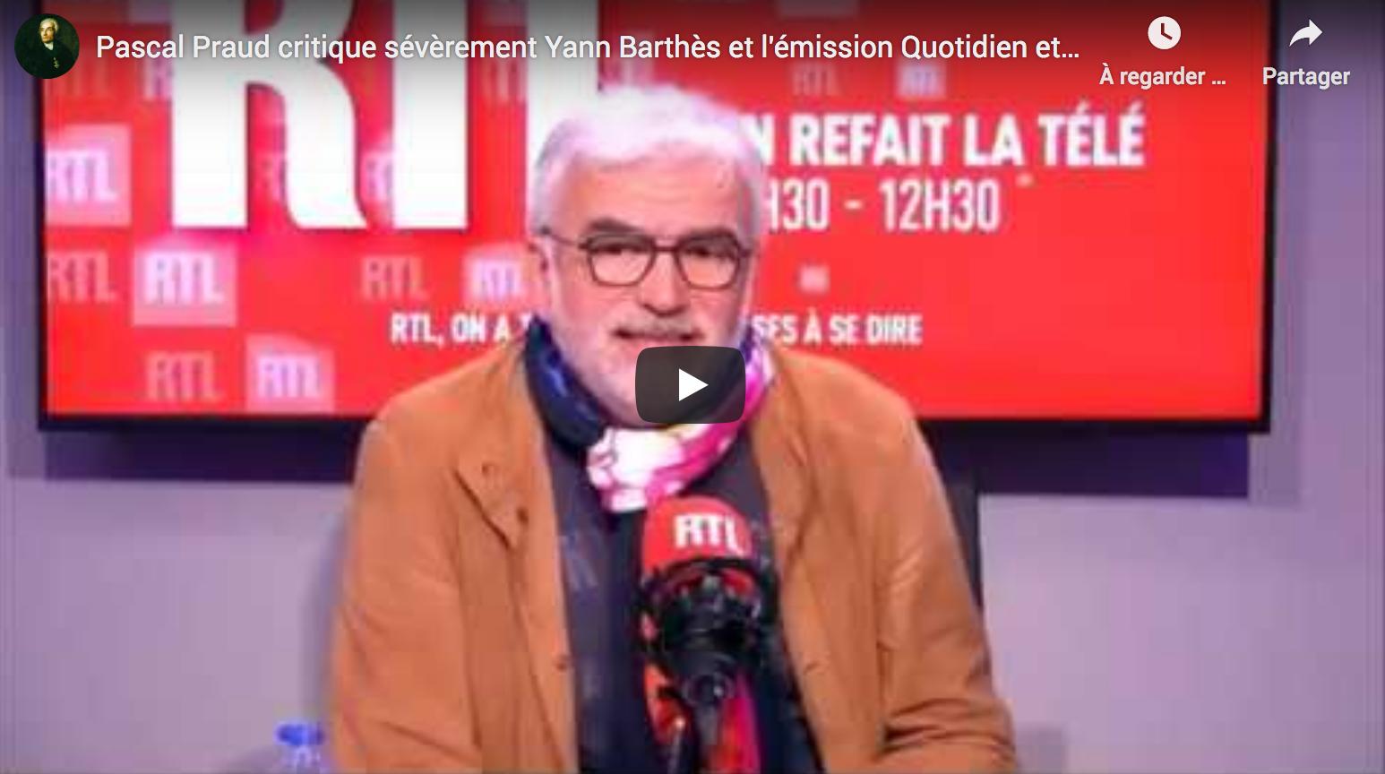 Pascal Praud critique sévèrement Yann Barthès et l'émission «Quotidien», il s'étonne qu'elle continue (VIDÉO)
